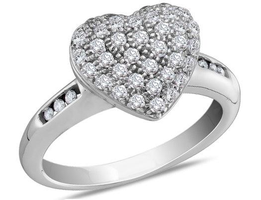 1/2 Carat (ctw I-J,  I2) Diamond Heart Promise Ring in 14K White Gold