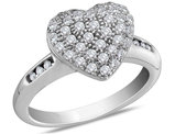 Diamond Heart Engagement Ring 1/2 Carat (ctw Color I-J Clarity I2) in 14K White Gold