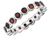 1.60 Carat (ctw) Natural Red Garnet Eternity Ring Band in Sterling Silver