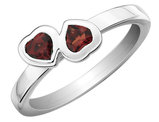 Red Garnet Double Heart Ring 1/2 Carat (ctw) in Sterling Silver