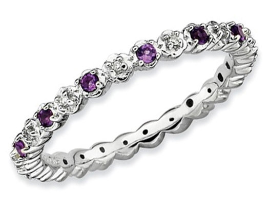 Amethyst Ring 1/5 Carat (ctw) with Diamond Accent in Sterling Silver