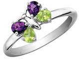 Amethyst and Peridot Butterfly Ring 3/5 Carat (ctw) in Sterling Silver