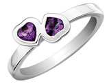 Amethyst Double Heart Ring 2/5 Carat (ctw) in Sterling Silver