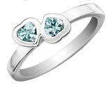 Aquamarine Double Heart Ring 2/5 Carat (ctw) in Sterling Silver