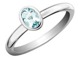 2/5 Carat (ctw) Solitaire Oval Aquamarine Ring in Sterling Silver