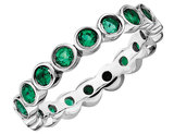 Created Emerald Ring 1.20 Carat (ctw) in Sterling Silver