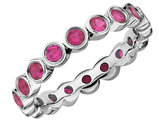 Created Synthetic Ruby Ring 1.70 Carat (ctw) in Sterling Silver