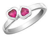 Created Synthetic Ruby Double Heart Ring 0.60 Carat (ctw) in Sterling Silver