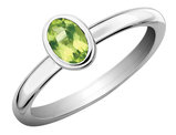 Solitaire Peridot Ring 1/2 Carat (ctw) in Sterling Silver