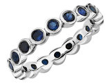 Created Blue Sapphire Ring 1.60 Carat (ctw) in Sterling Silver