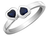 Created Blue Synthetic Sapphire Double Heart Ring 1/2 Carat (ctw) in Sterling Silver