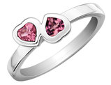 Pink Tourmaline Double Heart Ring 2/5 Carat (ctw) in Sterling Silver