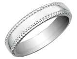 Rope Edge Design Wedding Band in Sterling Silver