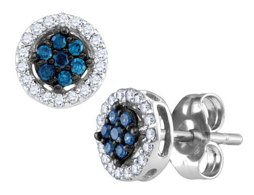White and Blue Diamond Stud Earrings 1/4 Carat (ctw) in 10K White Gold