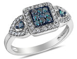 White and Enhanced Blue Diamond Cocktail Ring 1/2 Carat (ctw) in 10K White Gold