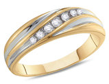 Men's Diamond Wedding Band 1/6 Carat (ctw Color J-K Clarity I2-I3) in 10K White and Yellow Gold