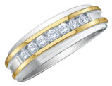 Men's Diamond Wedding Band 1/4 Carat (ctw Color H-I, Clarity I2-I3) in 10K White and Yellow Gold