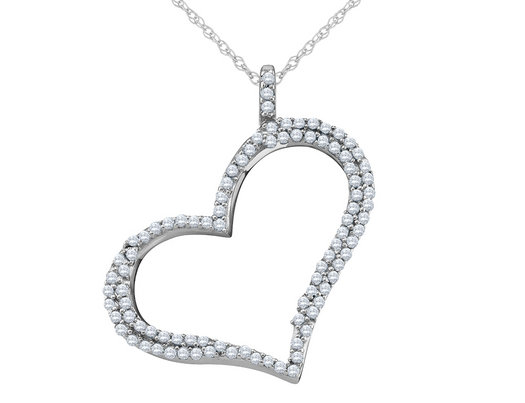 Diamond Floating Heart Pendant Necklace 1/3 Carat (ctw) in 10K White Gold with Chain