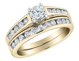 1/2 Carat (ctw) Diamond Engagement Ring and Wedding Band Set in 14K Yellow Gold