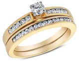 1/2 Carat (ctw H-I, I1-I2) Diamond Engagement Ring & Wedding Band Bridal Set in 10K Yellow Gold
