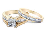 2.0 Carat (ctw G-H, I1-I2) Princess Cut Diamond Engagement Ring & Wedding Band Set in 14K Yellow Gold