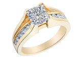 Princess Cut Diamond Engagement Ring & Wedding Band Set 2.0 Carat (ctw) in 14K Yellow Gold