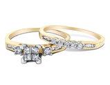 Princess Cut Diamond Engagement Ring & Wedding Band Set 2/5 Carat (ctw) in 10K Yellow Gold