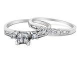Princess Cut Diamond Engagement Ring & Wedding Band Set 2/5 Carat (ctw) in 10K White Gold