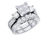 4/5 Carat (ctw H-I, I2-I3) Princess Cut Diamond Engagement Ring & Wedding Band Set in 10K White Gold
