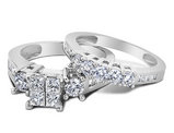 Princess Cut Diamond Engagement Ring & Wedding Band Set 2.0 Carat (ctw) in 14K White Gold