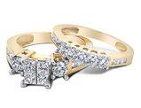 Princess Cut Diamond Engagement Ring & Wedding Band Set 2.0 Carat (ctw) in 14K Yellow Gold