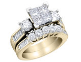 Princess Cut Diamond Engagement Ring & Wedding Band Set 1.5 Carat (ctw) in 14K Yellow Gold