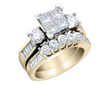 4/5 Carat (ctw H-I, I2-I3) Princess Cut Diamond Engagement Ring & Wedding Band Set in 10K Yellow Gold