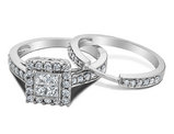 1/2 Carat (ctw H-I, I1-I2) Princess Cut Diamond Engagement Ring & Wedding Band Set in 14K White Gold