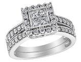 Princess Cut Diamond Engagement Ring & Wedding Band Set 1.0 Carat (ctw) in 14K White Gold