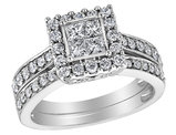 Princess Cut Diamond Engagement Ring & Wedding Band Set 1.50 Carat (ctw) in 14K White Gold