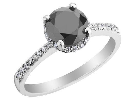 1.50 Carat (ctw H-I, I1-I2) White and Black Diamond Engagement Ring n 14K White Gold