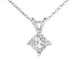 Premium Quality Princess Cut Diamond Solitaire Pendant Necklace 1/20 Carat (ctw) in 14K White Gold with Chain