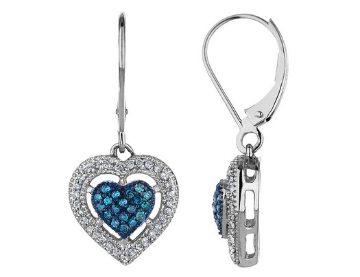 White And Blue Diamond Heart Earrings 2 5 Carat Ctw I2 I3
