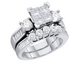 Princess Cut Diamond Engagement Ring & Wedding Band Set 1.5 Carat (ctw) in 14K White Gold