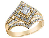 1.00 Carat (ctw H-I, I1-I2) Princess Cut Diamond Engagement Ring in 14K Yellow Gold