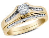 1/2 Carat (ctw I-J, I2-I3 ) Princess Cut Diamond Engagement Ring & Wedding Band Set in 10K Yellow Gold