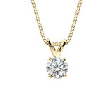 Premium Quality Diamond Solitaire Pendant Necklace 1/3 Carat (ctw) in 14K Yellow Gold with Chain