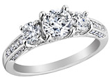 1.50 Carat (ctw Color H-I Clarity I1-I2) Diamond Engagement Ring 14K White Gold
