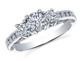 1.0 Carat (ctw H-I, I1-I2) Diamond Engagement Ring or Three Stone Anniversary Ring in 14K White Gold