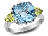 3.90 Carats (ctw) Blue Topaz & Green Peridot Ring in Sterling Silver
