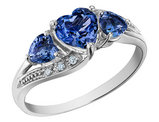 Created Blue Sapphire Heart Ring with Diamonds 1.53 Carat (ctw) in 10K White Gold
