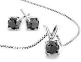 2.00 Carat (ctw) Black Diamond Solitaire Earrings and Necklace Set in Sterling Silver