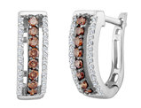White and Enhanced Champagne Diamond Earrings 1/2 Carat (ctw) in 14K White Gold