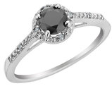 White and Black Diamond Ring 1/2 Carat (ctw) in 10K White Gold